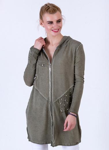 WHIP Design Taş Baskılı Kapşonlu Uzun Kol Penye Ceket Haki